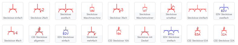 Symbole Elektroinstallation Steckdosen
